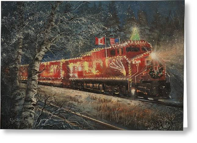 Canadian Pacific Holiday Train Greeting Card by Tom Shropshire