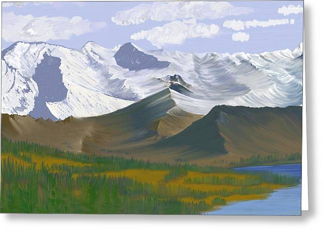 Greeting Card featuring the digital art Canadian Rockies by Terry Frederick