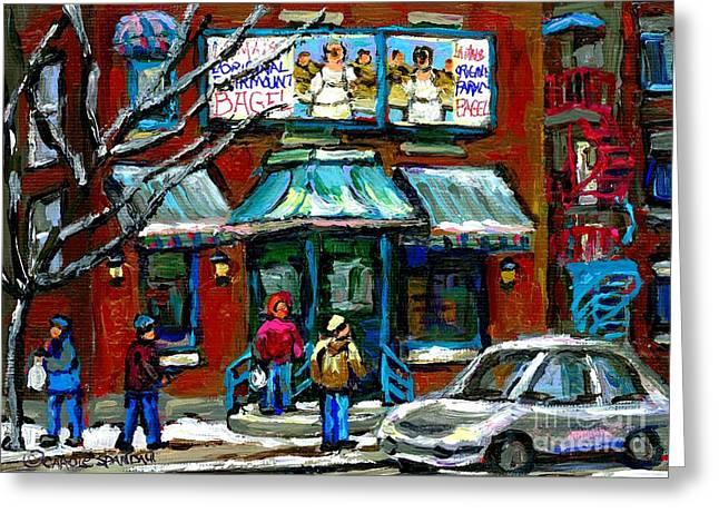 Canadian Urban Winter City Scenes Paintings Fairmount Bagel Shop Montreal Art Carole Spandau Greeting Card
