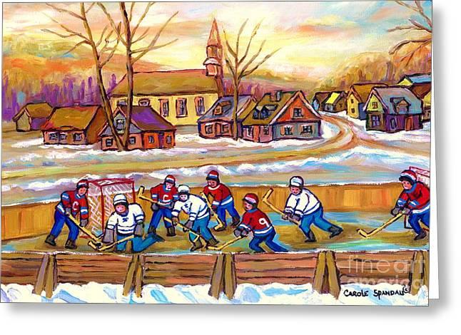 Canadian Village Scene Hockey Game Quebec Winter Landscape Outdoor Hockey Carole Spandau Greeting Card by Carole Spandau