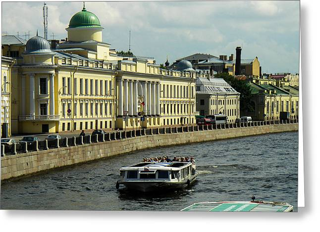 Canal And Historic Buildings Saint Petersburg Russia Greeting Card by Robert Ford