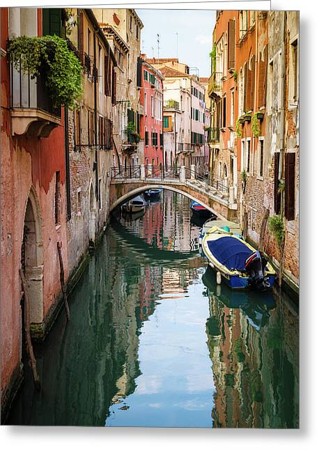 Canal And Houses, Venice, Veneto, Italy Greeting Card