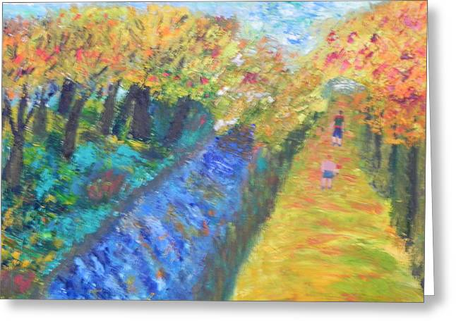 Canal And Towpath Greeting Card by Ernie Goldberg