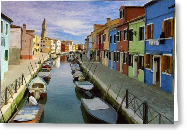 Canal Burano  Venice Italy  Greeting Card