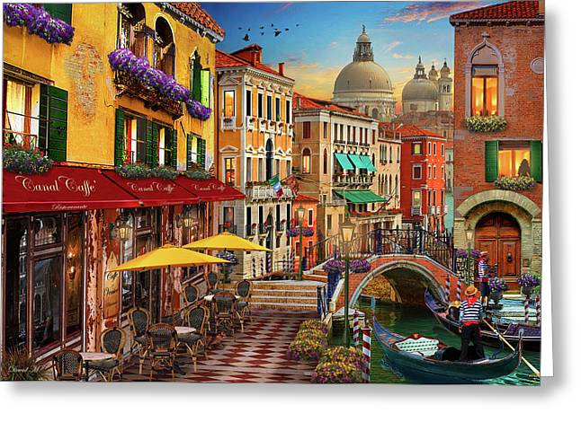 Canal Caffe Venice Greeting Card by David M ( Maclean )
