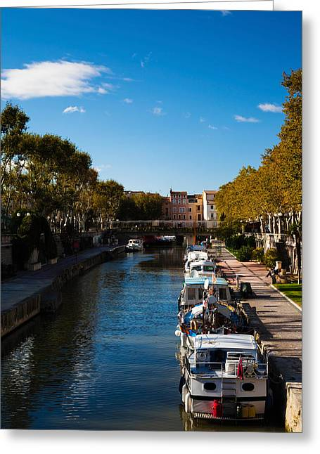 Canal De La Robine By The Cours Greeting Card by Panoramic Images