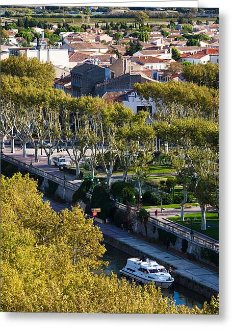 Canal De La Robine Overview Greeting Card by Panoramic Images