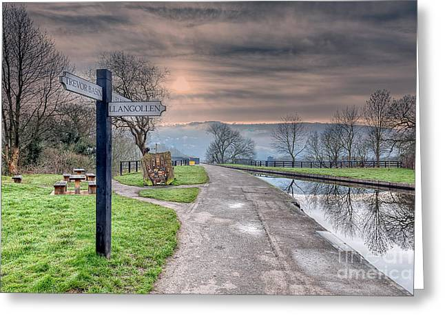 Canal Directions Greeting Card by Adrian Evans