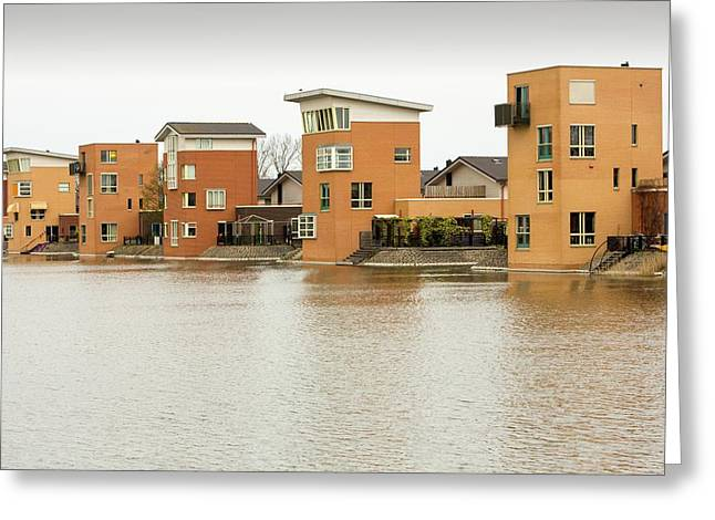 Canal Front Houses In Heerhugowaard Greeting Card by Ashley Cooper