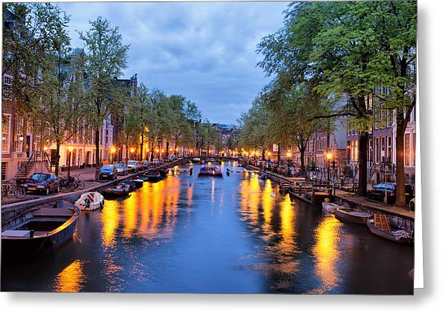 Canal In Amsterdam At Dusk Greeting Card