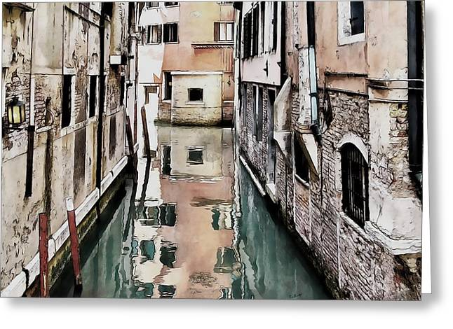 Greeting Card featuring the digital art Canal In Venice by Kai Saarto