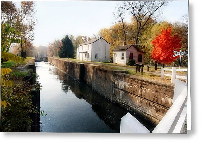 Canal Lock At Kingston Greeting Card by George Oze