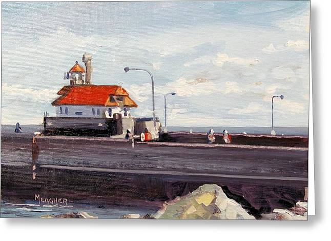 Canal Park Lighthouse Duluth Greeting Card by Spencer Meagher