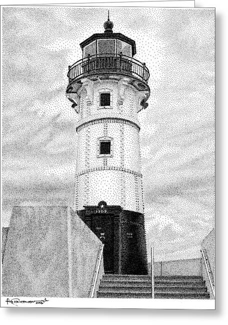 Canal Park Lighthouse Greeting Card by Rob Christensen