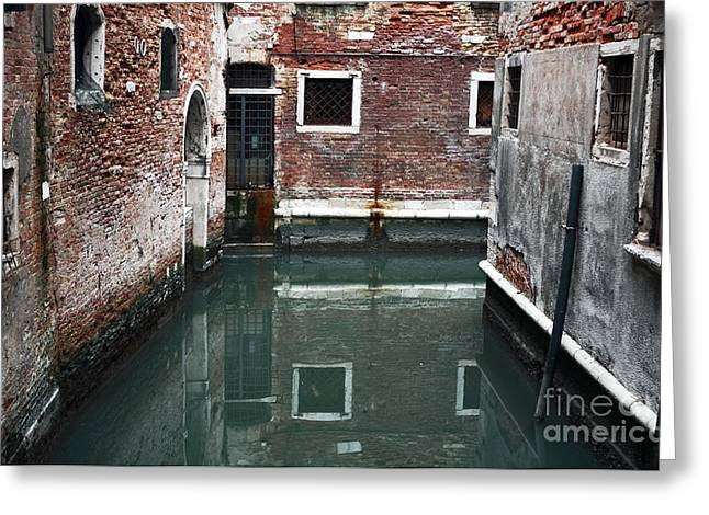Canal Reflections Greeting Card by John Rizzuto