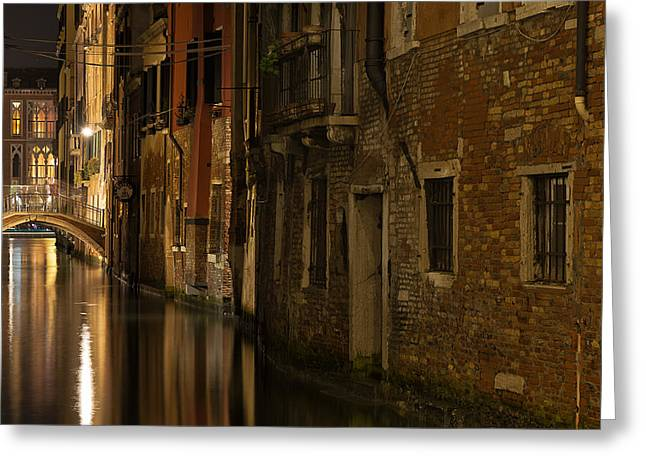Canal Reflections Greeting Card by Marion Galt