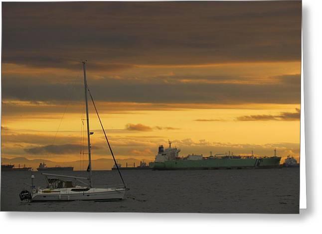 Canal Ship Sunrise Greeting Card
