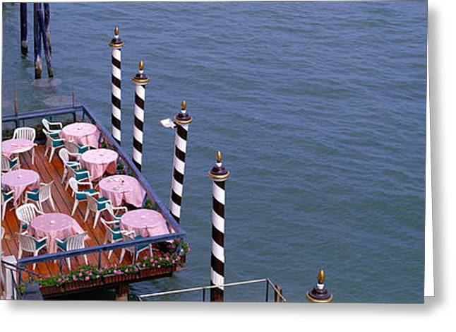Canal Side Cafe Venice Italy Greeting Card