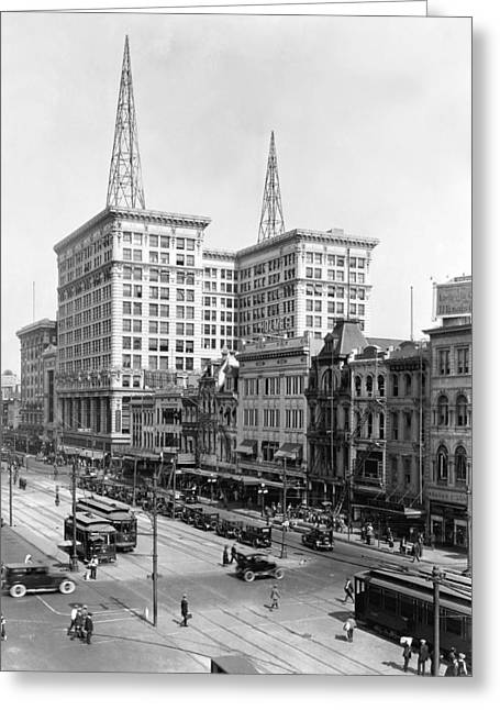 Canal Street In New Orleans Greeting Card by Underwood Archives