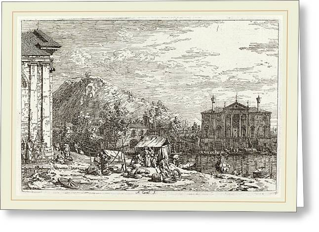 Canaletto Italian, 1697-1768, The Market At Dolo Lower Left Greeting Card by Litz Collection