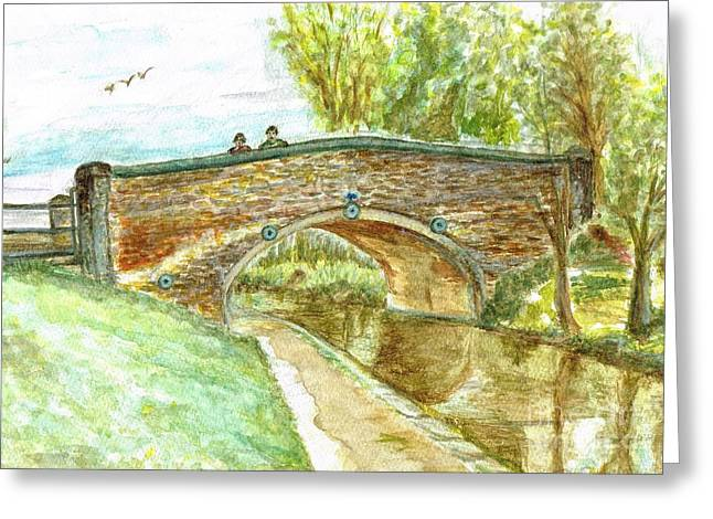 Greeting Card featuring the painting Canal-bridal Path In Staffordshire  by Teresa White