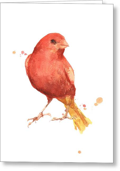 Canary Bird Greeting Card by Alison Fennell
