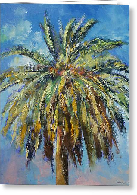 Canary Island Date Palm Greeting Card by Michael Creese
