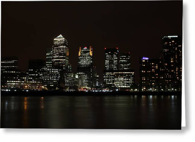 Canary Wharf Skyline Greeting Card by Dan Davidson