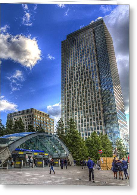 Canary Wharf Station London Greeting Card by David Pyatt