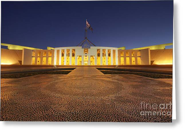Canberra Australia Parliament House Twilight Greeting Card by Colin and Linda McKie
