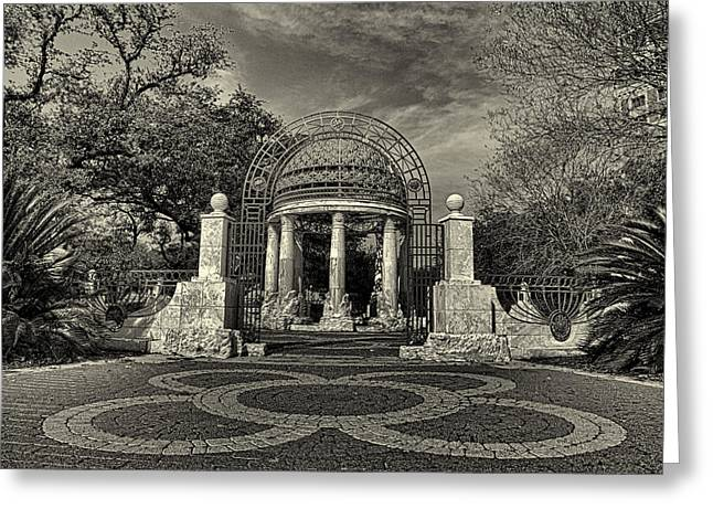 Cancer Survivors Plaza Black And White Greeting Card by Joshua House