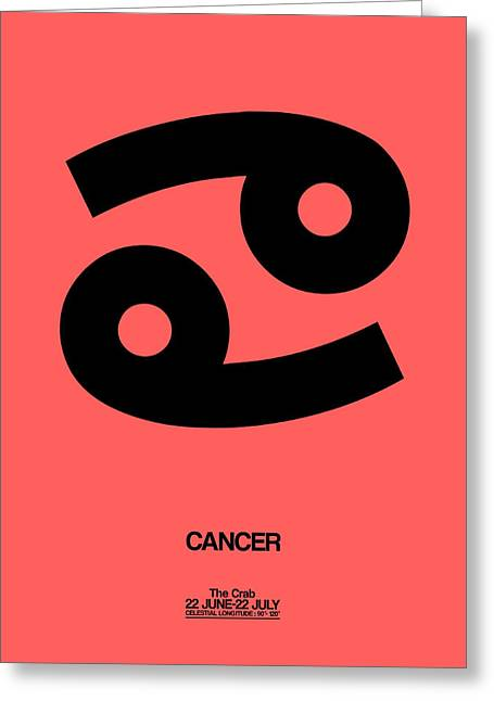 Cancer Zodiac Sign Black Greeting Card