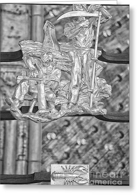 Cancer Zodiac Sign - St Vitus Cathedral - Prague - Black And White Greeting Card by Ian Monk