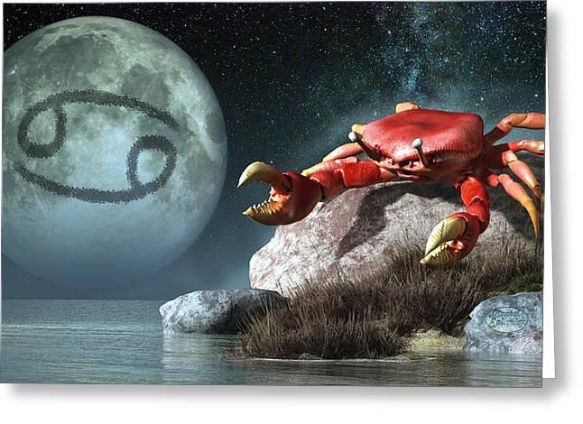 Cancer Zodiac Symbol Greeting Card by Daniel Eskridge