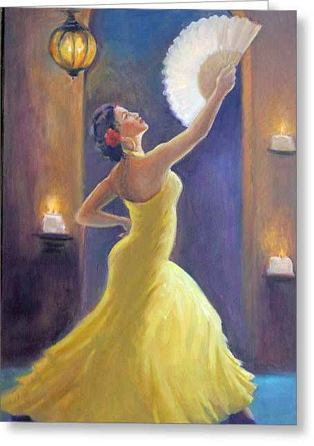 Candelight Castinetts Greeting Card by Gwen Carroll