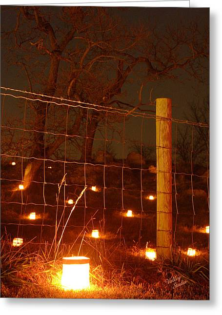 Greeting Card featuring the photograph Candle At Wire Fence 2 - 12 by Judi Quelland