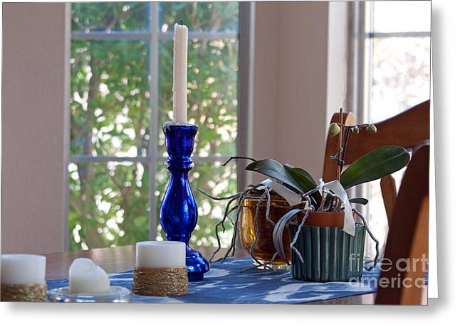 Greeting Card featuring the photograph Candle Holder On Dining Table by Gunter Nezhoda