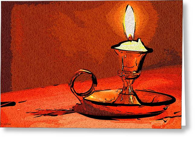 Candle Lamp Greeting Card by Tyler Robbins