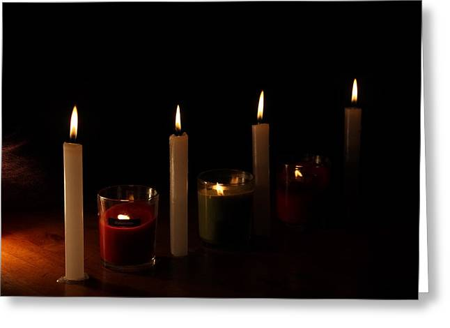 By The Flickering Light Greeting Card