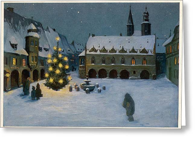 Candle-lit Tree Stands In A  Snowy Town Greeting Card