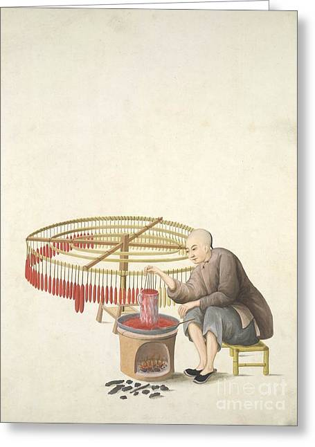 Candle-maker, 19th-century China Greeting Card by British Library