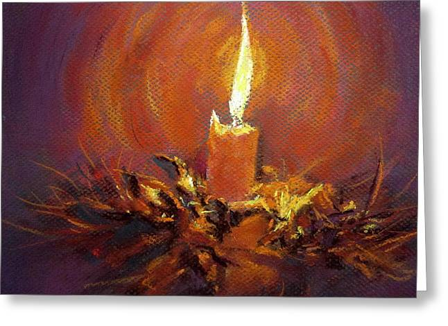 Greeting Card featuring the painting Candlelight by Jieming Wang
