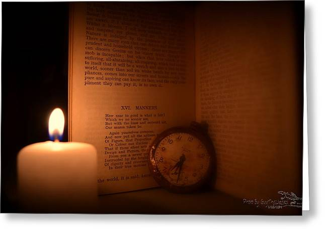 Candlelight Read Greeting Card by Guy Hoffman