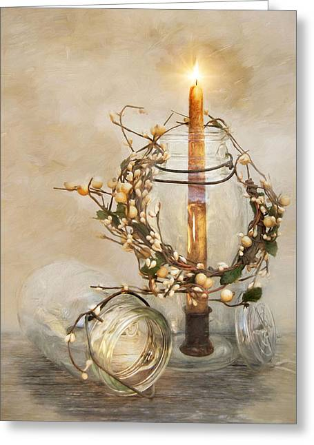 Candlelight Greeting Card by Robin-Lee Vieira