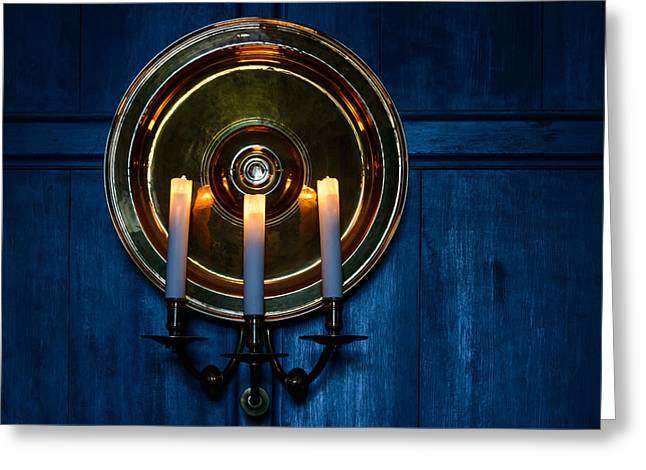 Candles And Blue Wooden Background Greeting Card by Dutourdumonde Photography