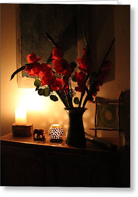 Candles And Orange Gladiolus Greeting Card by Ron McMath