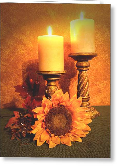 Candles And Sunflower Greeting Card by Zelma Hensel