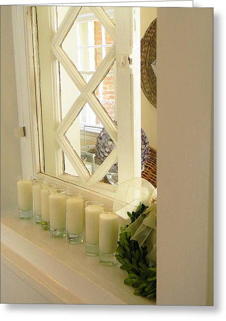 Candles And Wicker And Window Greeting Card by Jean Goodwin Brooks