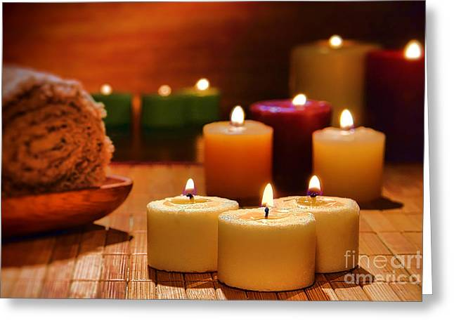 Candles Burning In A Spa  Greeting Card by Olivier Le Queinec