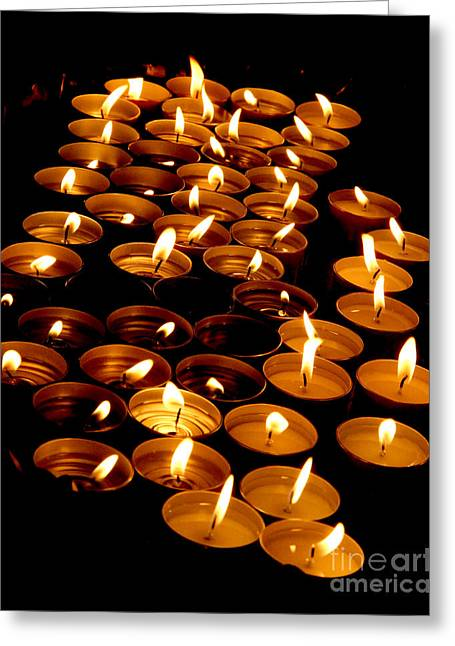 Candles In A Church As A Symbol Of A Prayer Greeting Card by Federico Candoni